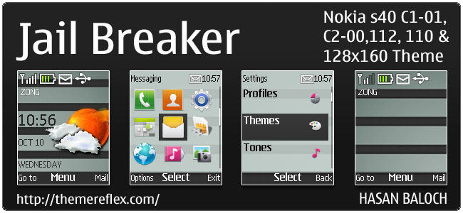 Jail Breaker Live theme for Nokia C1-01, C2-00, 110, 112 & 128×160