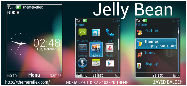 Jelly Bean UX theme for Nokia X3, C2-01, X2-01 & 240×320