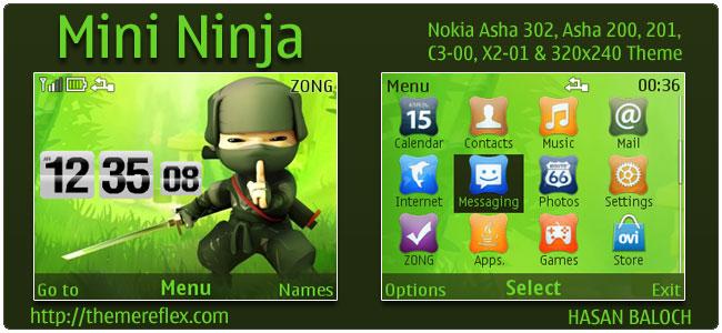 Mini Ninja Theme for Nokia C3, X2-01 & Asha 200,201,302
