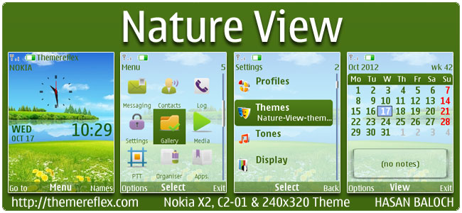 Nature View Theme for Nokia X2-00, X2-05, C2-01, 2700 & 240×320