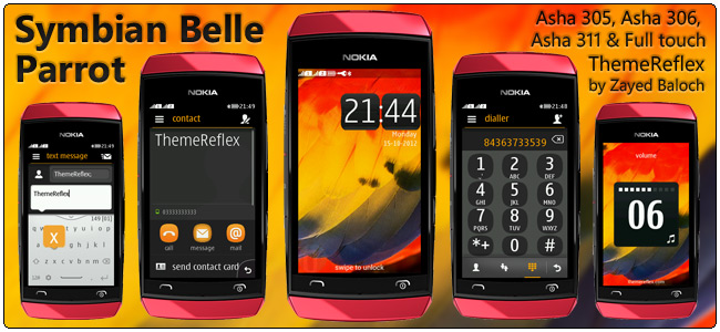 Symbian Belle Parrot theme for Nokia Asha 305, 306 and 311 full touch
