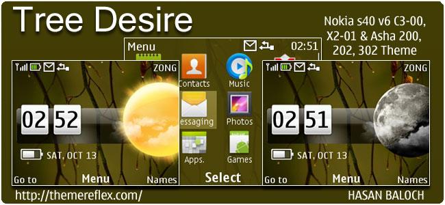 Tree Desire Live Theme for Nokia C3, X2-01 & Asha 200,201,302