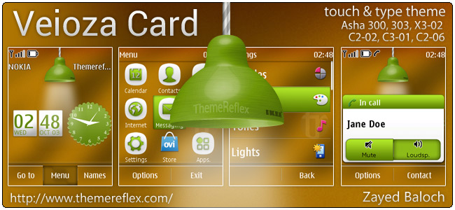 Veioza Card theme for Nokia Asha 303/300, C2-02, X3-02 & touch and type