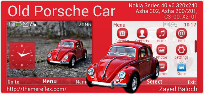 Old Porsche Car theme for Nokia Asha 302, C3-00, X2-01 & 320×240