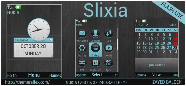 Slixia theme for Nokia X3, X2-00, C2-01, Xpress Music & Supernova