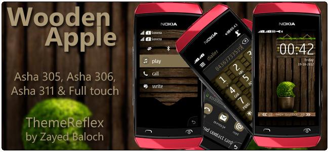 Wooden Apple theme for Nokia Asha 305, Asha 306 and Asha 311