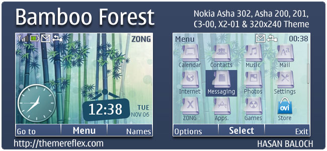 Bamboo Forest Theme for Nokia C3, X2-01 & Asha 200,201,302