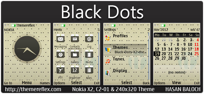Black Dots Theme for Nokia X2-00, C2-01, 2700, X2-05 & 240×320 (Updated)