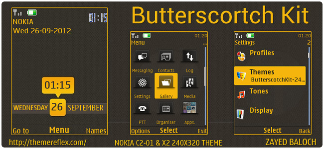 Butterscotch Kit theme for Nokia X2-00, C2-01, X3 and 240×320 (Updated)