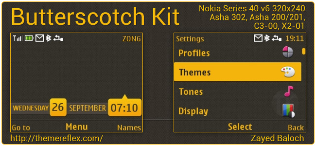 Butterscotch Kit theme for Nokia Asha 302, C3-00, X2-01 & 320×240