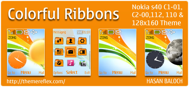 Colorful Ribbons Live Theme for Nokia C1-01, C2-00, 110, 112 & 128×160