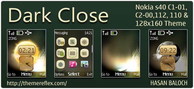 Dark Close Live Theme for Nokia C1-01, C2-00, 110, 112