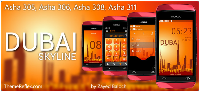 Dubai Skyline theme for Nokia Asha 305, 306, 308 and Asha 311