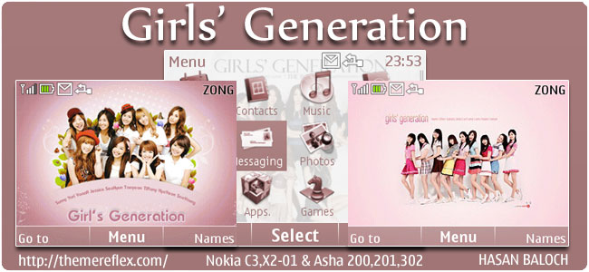 Girls' Generation Animated Theme for Nokia C3, X2-01 & Asha 200,201,302