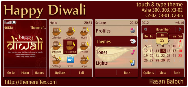 Happy Diwali Theme for Nokia Asha 300/302, X3-02, C2-02, touch & type