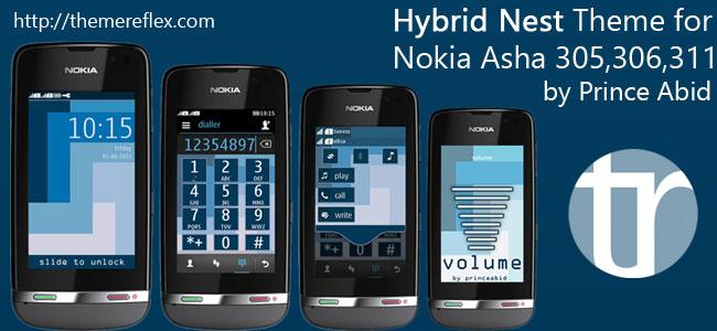 Hybrid Nest Theme for Nokia Asha 305, Asha 306, Asha 308, Asha 311