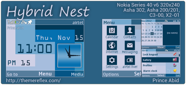 Hybrid Nest theme for Nokia Asha 302, C3-00, X2-01 & 320×240