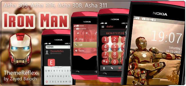 Iron Man theme for Nokia Asha 305, Asha 306, Asha 308 & Asha 311