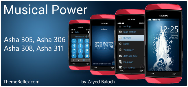 Musical Power theme for Nokia Asha 305, Asha 306, Asha 308 & Asha 311