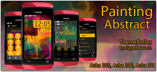 Painting Abstract Theme for Nokia Asha 305, Asha 306, Asha 308 & Asha 311