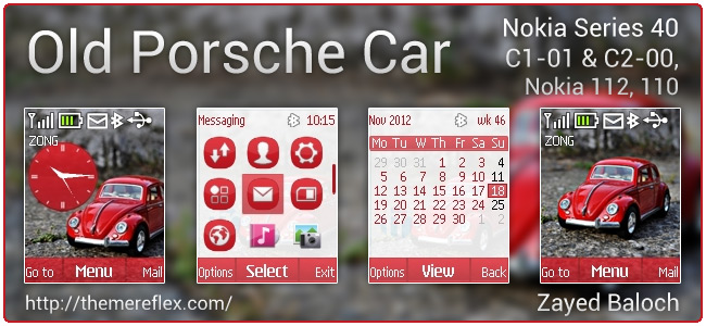 Old Porsche Car theme for Nokia C1-01, C2-00, 110, 112 & 128×160