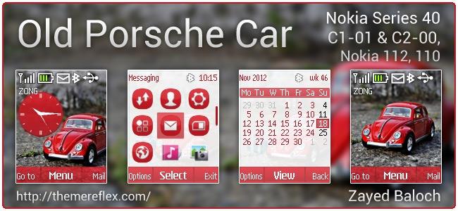 Old Porsche Car theme for Nokia C1-01, C2-00, 110, 112 & 128×160