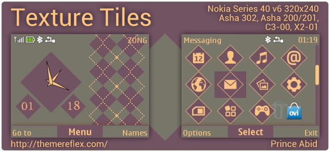 Texture Tiles theme for Nokia Asha 302, C3-00, X2-01 & Asha 200/201