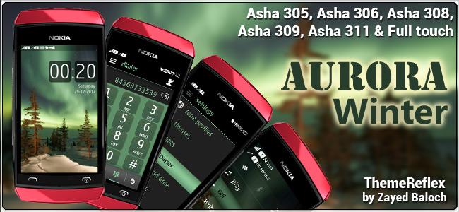 Aurora Winter theme for Nokia Asha 305, Asha 306, Asha 308 & Full touch