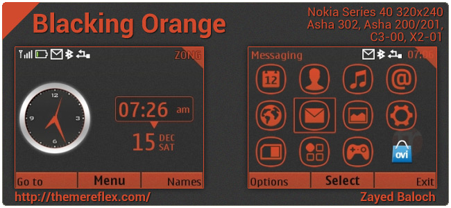 Blacking Orange Noise theme for Nokia Asha 302, C3-00, X2-01 & Asha 200/201