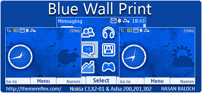 Blue Wall Print Live Theme for Nokia C3, X2-01 & Asha 200,201,302
