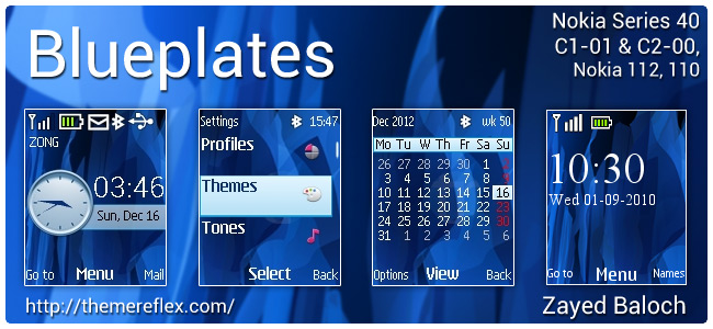 Blueplates theme for Nokia C1-01, C2-00, 110/112 and 2690