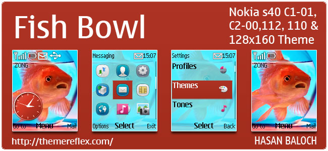 Fish Bowl Theme for Nokia C1-01, C2-00, 110, 112 & 128×160