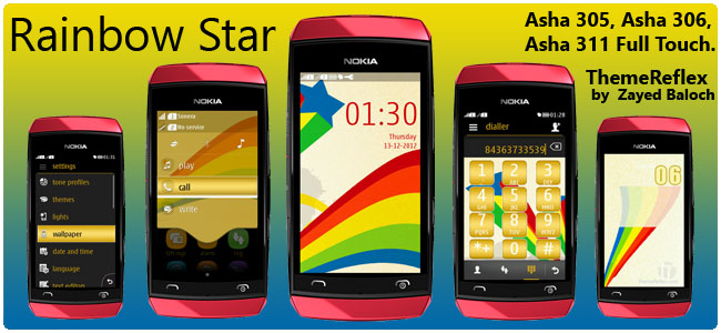 Rainbow Star Theme for Nokia Asha 305, Asha 306, Asha 308