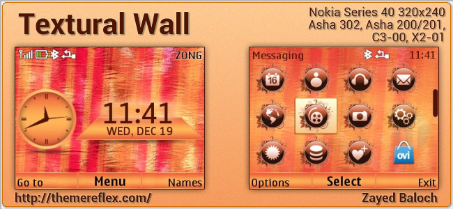 Textural Wall theme for Nokia Asha 302, C3-00, X2-01, Asha 200/201