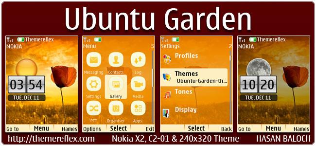 Ubuntu Garden Live Theme for Nokia X2-00, C2-01, X2-05, 2700 & 240×320