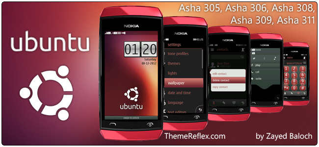Ubuntu theme for Nokia Asha 305, Asha 306, Asha 308 and Asha 311