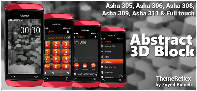Abstract 3D Blocks theme for Nokia Asha 305, 306, 308 and Asha 311