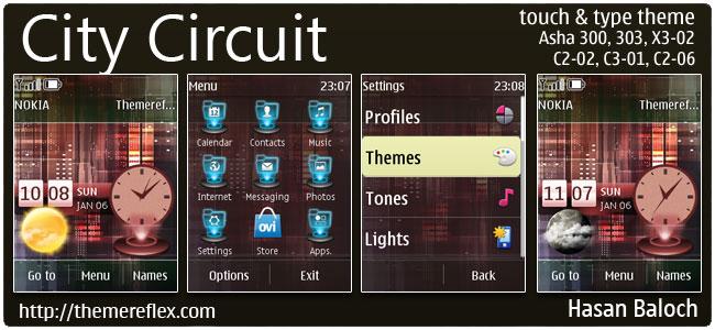 City Circuit Live Theme for Nokia Asha 300/303, X3-02, C2-02,Touch & Type