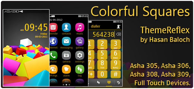 Colorful Squares Theme for Nokia Asha 305, Asha 306, Asha 308, Asha 311