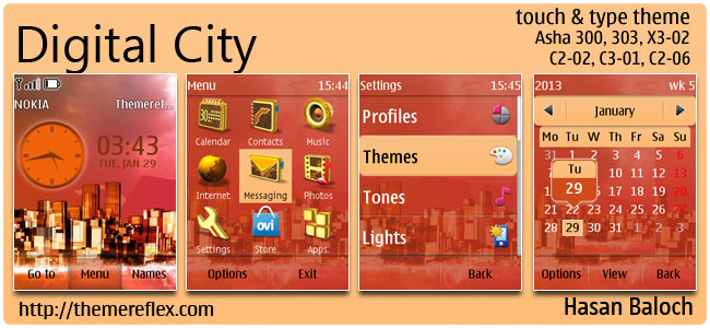 Digital City Theme for Nokia Asha 300/303, C2-02, X3-02, C2-06, touch & type
