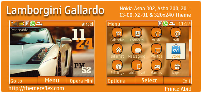 Lamborgini Gallardo Theme for Nokia C3, X2-01 & Asha 200, 201, 302