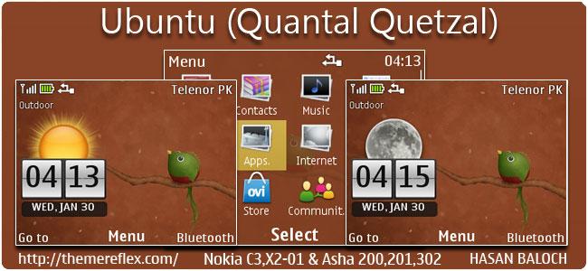 Ubuntu (Quantal Quetzal) Live Theme for Nokia C3, X2-01, Asha 200, 201, 302