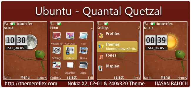 Ubuntu (Quantal Quetzal) Live Theme for Nokia X2-00, C2-01, 2700, X2-05 & 240×320