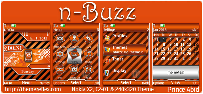 N-Buzz Theme for Nokia X2-00, C2-01, X2-05, 2700 & 240×320