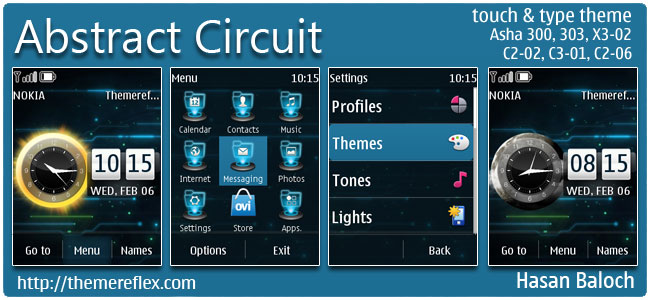 Abstract Circuit Live Theme for Nokia Asha 300/303, X3-02, C2-02, touch & type