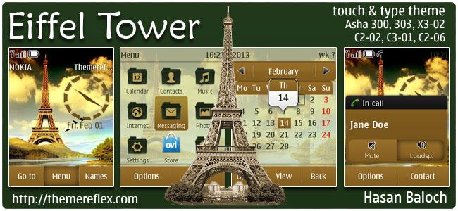 Eiffel Tower Theme for Nokia Asha 300/303, X3-02, C2-02, touch & type