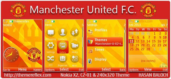 Manchester United F.C. Theme for Nokia X2-00, C2-01, X2-05, 2700  & 240×320
