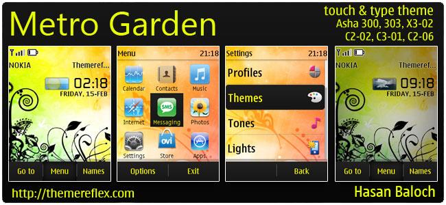 Metro Garden Live Theme for Nokia Asha 300/303, X3-02, C2-02, C2-06, touch & type
