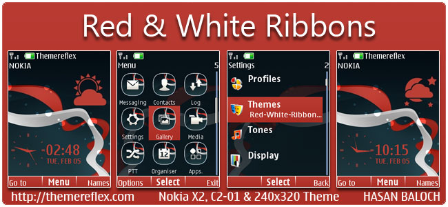 Red & White Ribbons Live Theme for Nokia X2-00, C2-01, X2-05 & 240×320