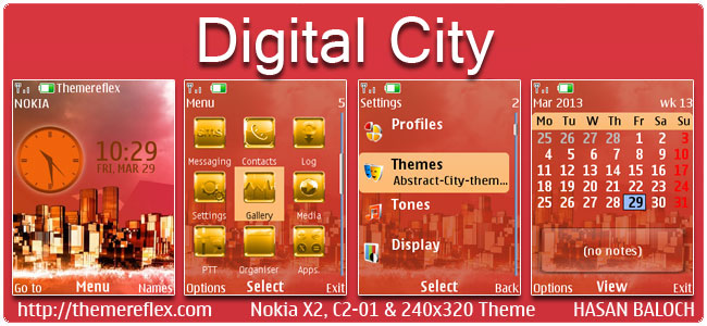 Digital City Theme for Nokia X2-00, C2-01, 2700, 206, X2-05 & 240×320